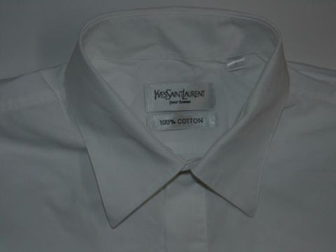 Yves Saint Laurent white short sleeves shirt - large mens, YSL - S5024-Classic Clothing Crib