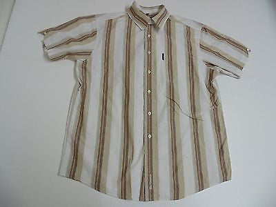 Ben Sherman brown stripes short sleeves shirt, large mens, size 3 - S3762