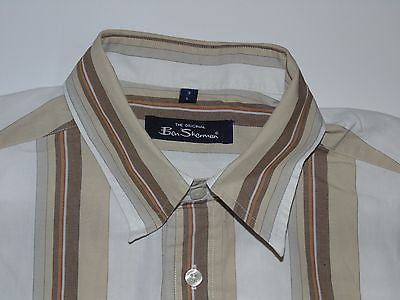 Ben Sherman brown stripes short sleeves shirt, large mens, size 3 - S3762-Classic Clothing Crib