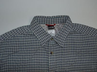 The North Face blue checks short sleeves shirt, small mens S/P - S4832-Classic Clothing Crib