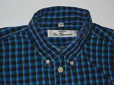 Ben Sherman blue checks Tencel shirt - medium mens, size 2 - S3567