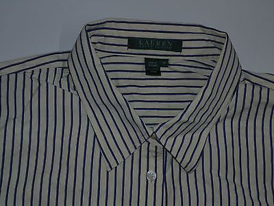 RALPH LAUREN SHIRT, LADIES SIZE 1X, CREAM WITH BLUE STRIPES - S3738