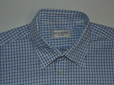 YSL Yves Saint Laurent blue checks short sleeves shirt, large mens - S4834-Classic Clothing Crib