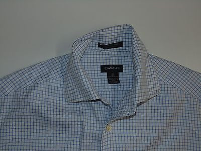 "Gant blue checks sleeveless shirt, 16.5"" / 42 large mens - S4682"