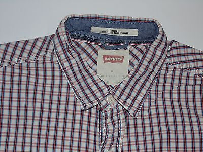 Levi's Strauss pink checks short sleeves shirt, medium mens standard fit - S3794
