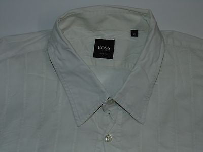 Hugo Boss white textured stripes shirt - xl mens, slim fit - S3784