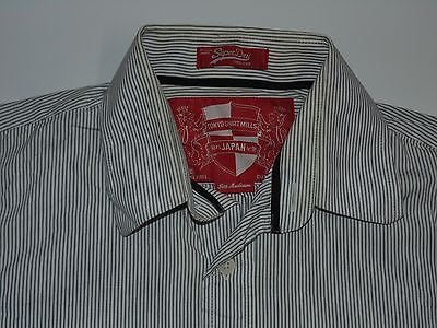 Superdry grey stripes shirt - medium mens Blacklabel - S3806