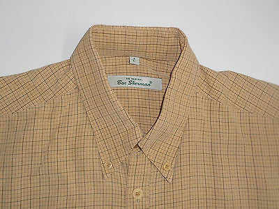 Ben Sherman JJ yellow checks short sleeves shirt, large mens, size 3 - S2839-Classic Clothing Crib