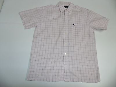 Fred Perry pink checks short sleeves shirt, medium mens - S4307-Classic Clothing Crib
