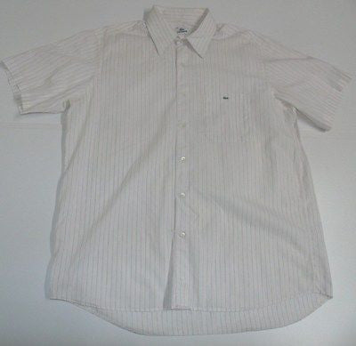 Lacoste pink stripes short sleeves shirt, large mens, size 44 - S4349-Classic Clothing Crib