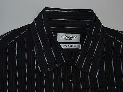 "YSL black & blue stripes shirt 16.5"" / 42 mens Yves Saint Laurent - S4660"