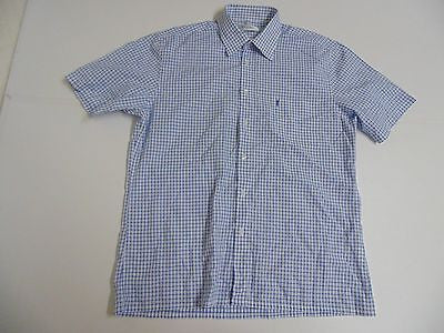YSL Yves Saint Laurent blue checks short sleeves shirt, large mens - S4834
