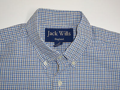 Jack Wills blue check short sleeves shirt, medium mens - S2203