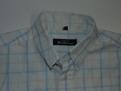 Ben Sherman blue window checks short sleeves shirt, medium mens, size 2 - S4367-Classic Clothing Crib