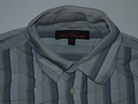 Ben Sherman grey stripes shirt - Medium mens - S5589-Classic Clothing Crib
