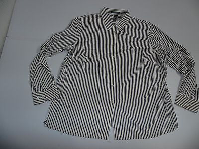 RALPH LAUREN SHIRT, LADIES SIZE 1X, CREAM WITH BLUE STRIPES - S3738-Classic Clothing Crib