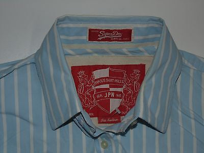 SUPERDRY BLUE STRIPES SHIRT, LADIES SIZE MEDIUM BLACKLABEL - S4572