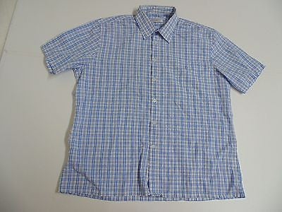 YSL Yves Saint Laurent blue checks short sleeves shirt, xl mens - S4833-Classic Clothing Crib