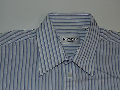 YSL blue stripes short sleeves shirt, medium mens, Yves Saint Laurent - S4661