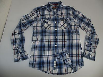 Superdry blue checks flannel shirt - xl mens - S4715-Classic Clothing Crib