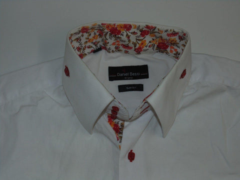 Daniel Bessi Milano white shirt with floral trims - large mens slim cut - S4597-Classic Clothing Crib