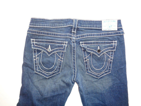 "True Religion Disco Billy Big T dark blue jeans Waist 31"" x Leg 32"" ladies-Classic Clothing Crib"
