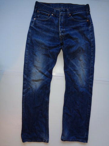 "Levi's Strauss 501 dirty dark blue denim jeans Waist 32"" x Leg 31"" mens-Classic Clothing Crib"