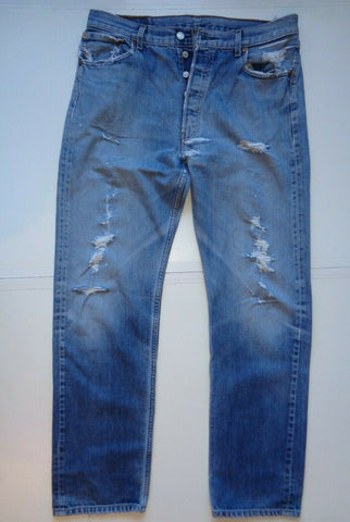 "Levi's Strauss 501 blue denim jeans Waist 36"" x Leg 33"" mens distressed ripped-Classic Clothing Crib"