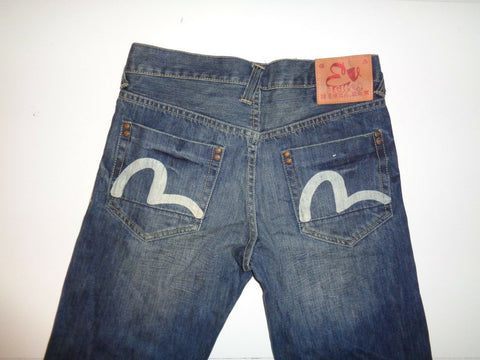 "Evisu selvedge dark blue jeans Waist 30"" x Leg 34"" mens button fly genes vg-Classic Clothing Crib"