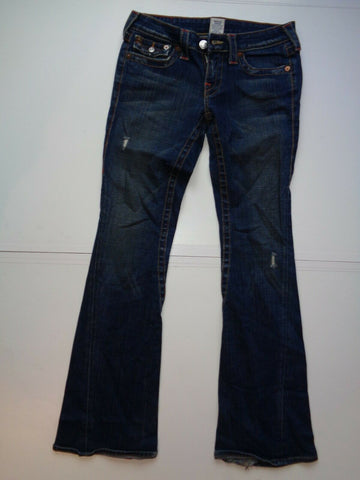 "True Religion Joey dark blue indigo jeans Waist 27"" x Leg 33"" ladies distressed-Classic Clothing Crib"