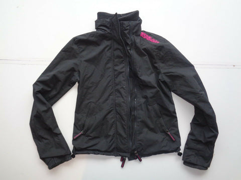 Superdry black windcheater jacket coat ladies medium-Classic Clothing Crib
