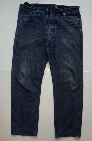 "Hugo Boss Alabama 14813 dirty dark blue viscose jeans Waist 36"" x Leg 32"" mens-Classic Clothing Crib"