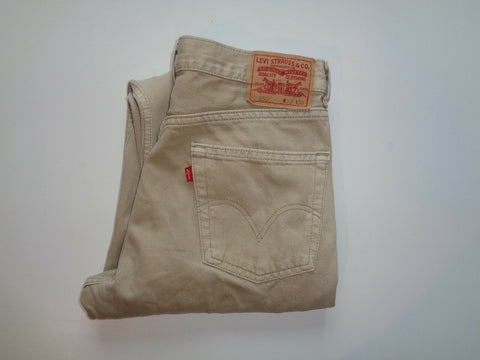 "Levi's Strauss 550 beige denim jeans Waist 33"" x Leg 30"" mens relaxed fit-Classic Clothing Crib"
