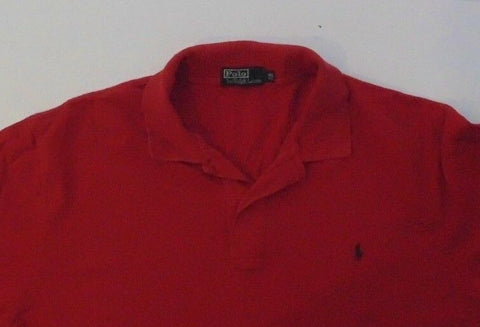 "Mens Ralph Lauren red polo shirt, 1XL BIG, 25.5"" pit to pit.-Classic Clothing Crib"