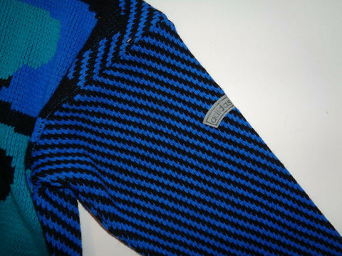 Adidas 80'z vintage blue v-neck wool jumper size 38, medium mens firebrand-Classic Clothing Crib