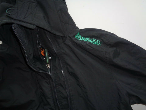 Superdry black hooded windcheater jacket coat ladies medium fleece lined-Classic Clothing Crib