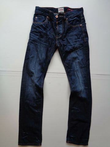 mens Superdry slim indigo dark blue jeans W28 x L32-Classic Clothing Crib