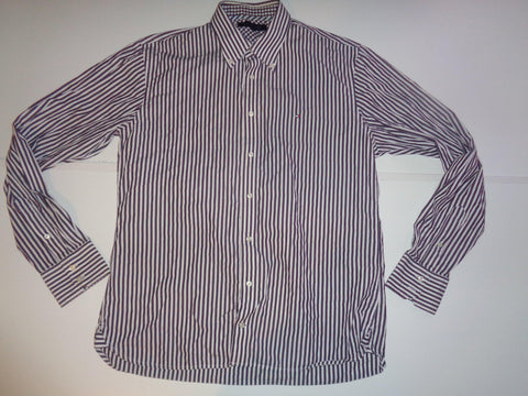 Tommy Hilfiger black & white stripes shirt - large mens - S5491