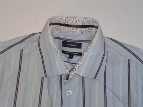 Peter Werth blue stripes with floral cuffs shirt - medium mens, size 3 - S5492