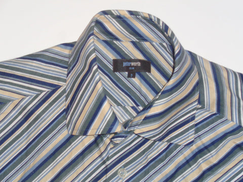 Peter Werth green stripes shirt - medium mens, size 3 - S5493