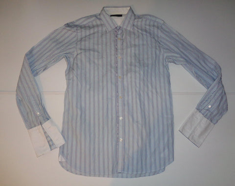 "Ted Baker Archive blue stripes shirt 15.5"" / medium mens - S5549"