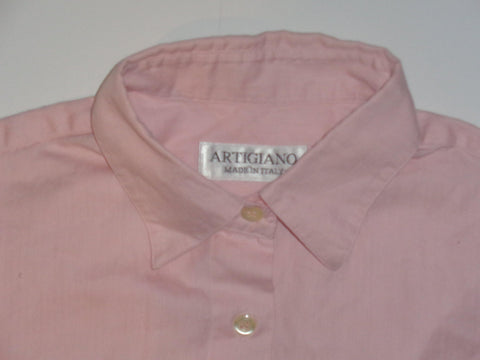 Artigiano Italy pink herringbone shirt - medium mens - S5501