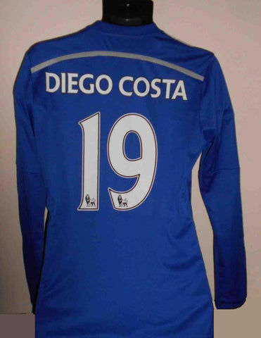 Chelsea 2014-2015 Long sleeves home football shirt small mens. DIEGO COSTA 19 MA466-Classic Clothing Crib