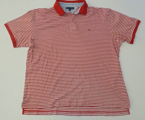 Mens Tommy Hilfiger red & white hoops polo shirt, xxl TTG/XXG-Classic Clothing Crib