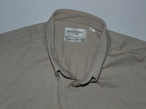 YSL Yves Saint Laurent beige heavy cotton shirt - large mens - S5632