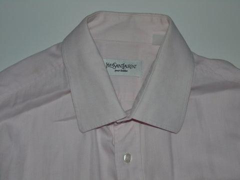 YSL Yves Saint Laurent pink herringbone shirt - large mens - S5633