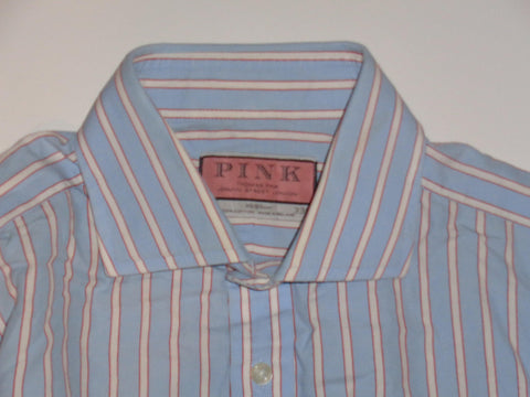 "Thomas Pink blue stripes shirt 15"" / 33.5 mens - S5510-Classic Clothing Crib"