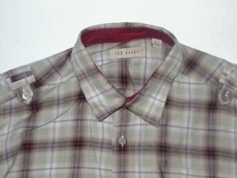 Ted Baker green checks shirt - medium mens, size 3 - S5644