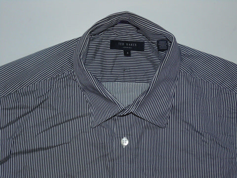 Ted Baker blue stripes shirt - large mens, size 4 stretch fit - S5645
