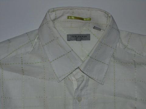 Ted Baker white with green spots shirt - large mens, size 4 - S5648